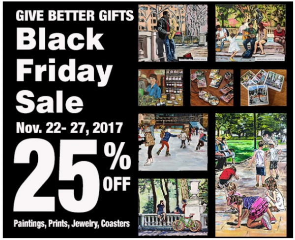 """The """"Give Better Gifts"""" Black Friday Sale – 25% Off All Paintings, Prints, Jewely & Coasters. Enter promo code  GQJL1Z6 at checkout"""