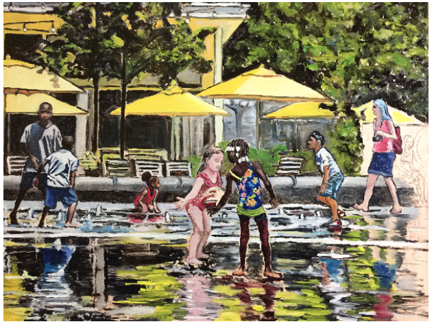 """""""Dilworth Splash"""" 18x24 inches. Oil on stretched linen canvas.   Almost finished!"""