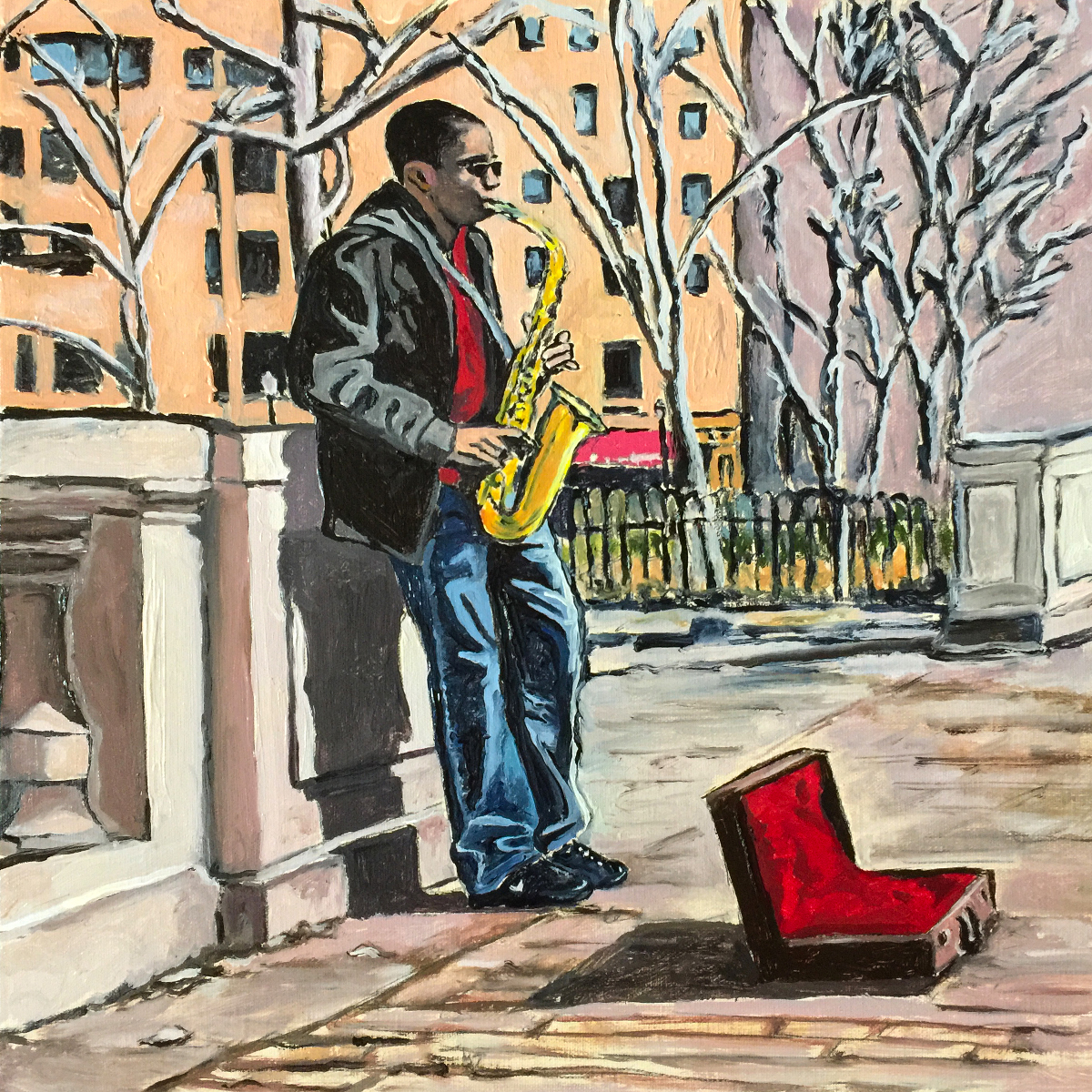 """""""Music in Rittenhouse Square,""""  12x12 inch. Oil on Canvas Panel. Photo reference: Jonathan Yu. Saxophone musician, Jamal Hall."""