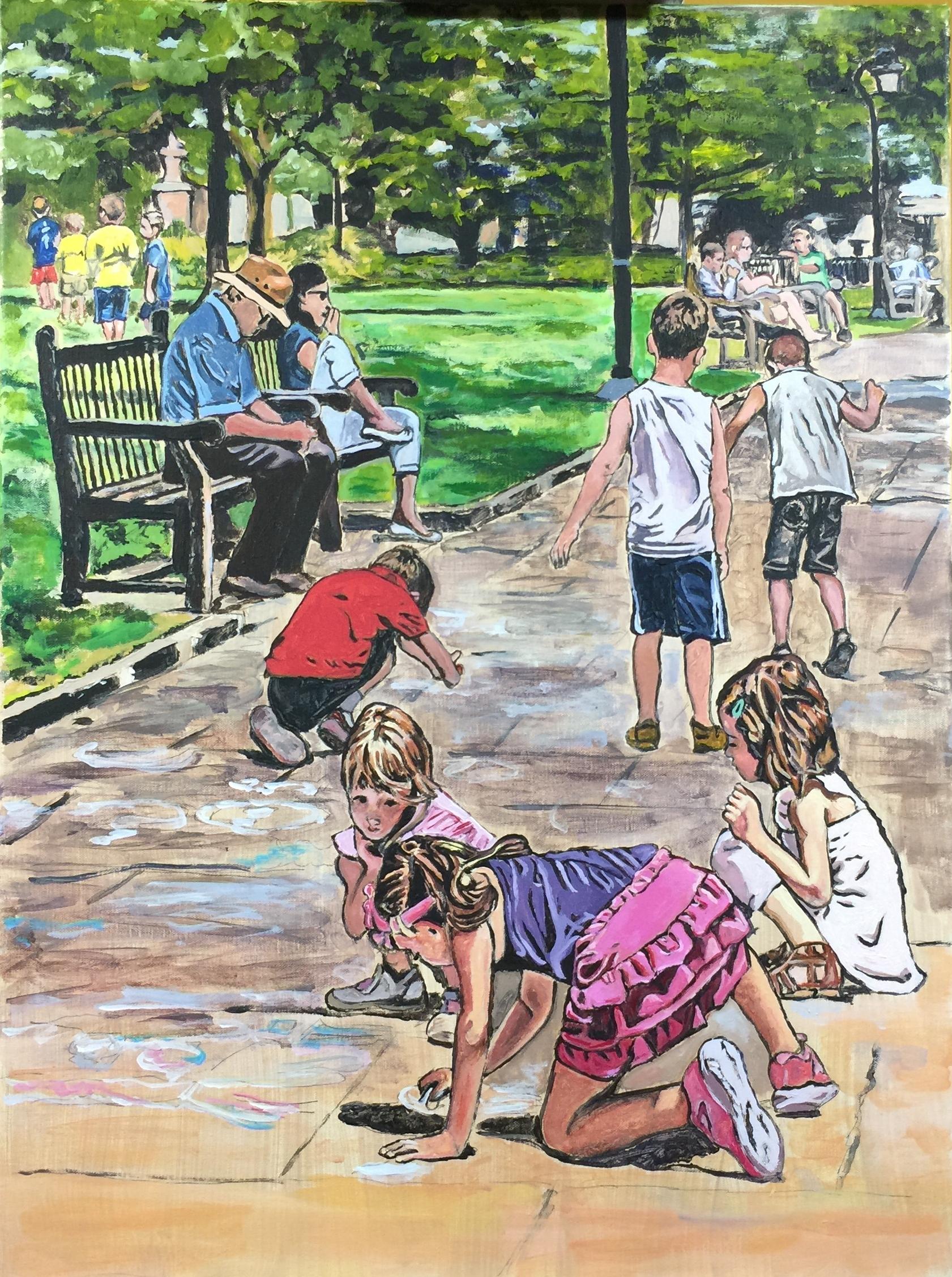 """Philadelphia Street Scene - Washington Square Park - """"Sidewalk Drawing in Washington Square Park"""" - 18x24 inches. Acrylic on Stretched Canvas."""