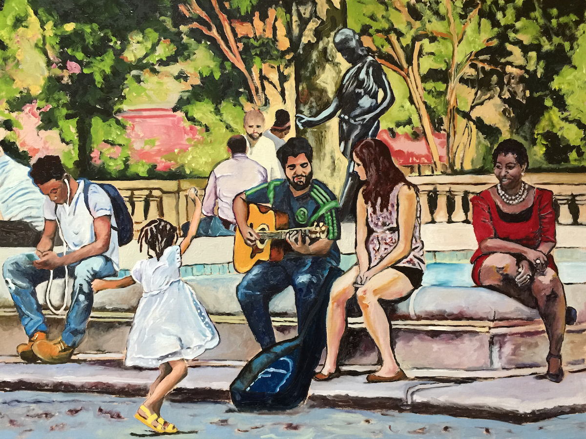 """Philadelphia Street Scene - Rittenhouse Square Park - """"Dancing at Rittenhouse Square"""" - 18x24 inches. Oil on Stretched Canvas. Winner - Free Library of Philadelphia Cultureshare Honorarium."""