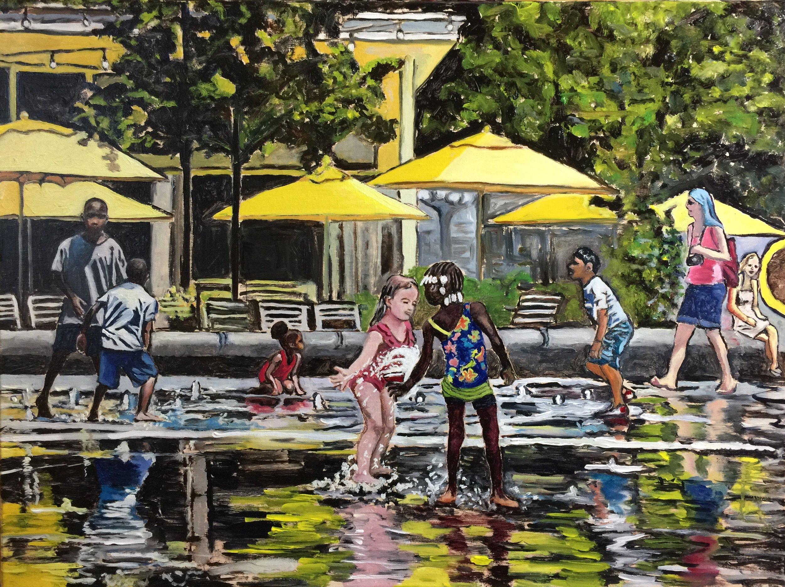 "Philadelphia Street Scene - Dilworth Park - ""Dilworth Splash"" - 18x24 inches. Oil on Stretched Canvas."