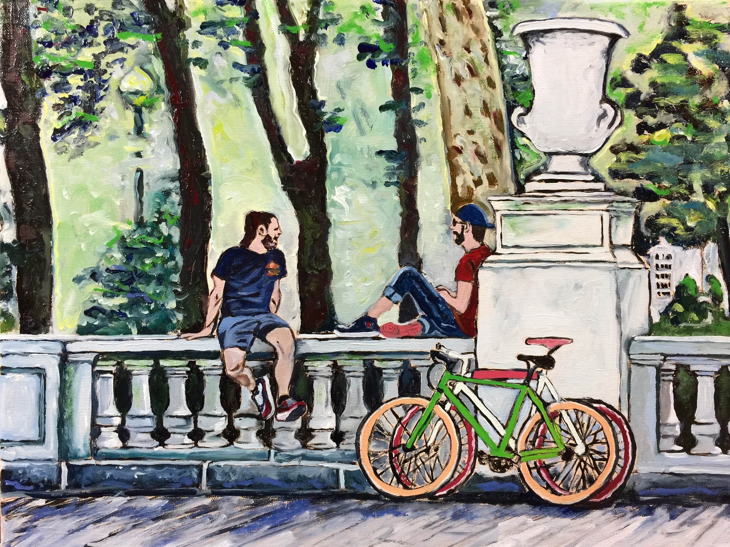 """Philadelphia Street Scene - Rittenhouse Square Park - """"Road Bikers Wallsitting at Rittenhouse Square"""" - 12x16 inches. Oil on Stretched Canvas."""