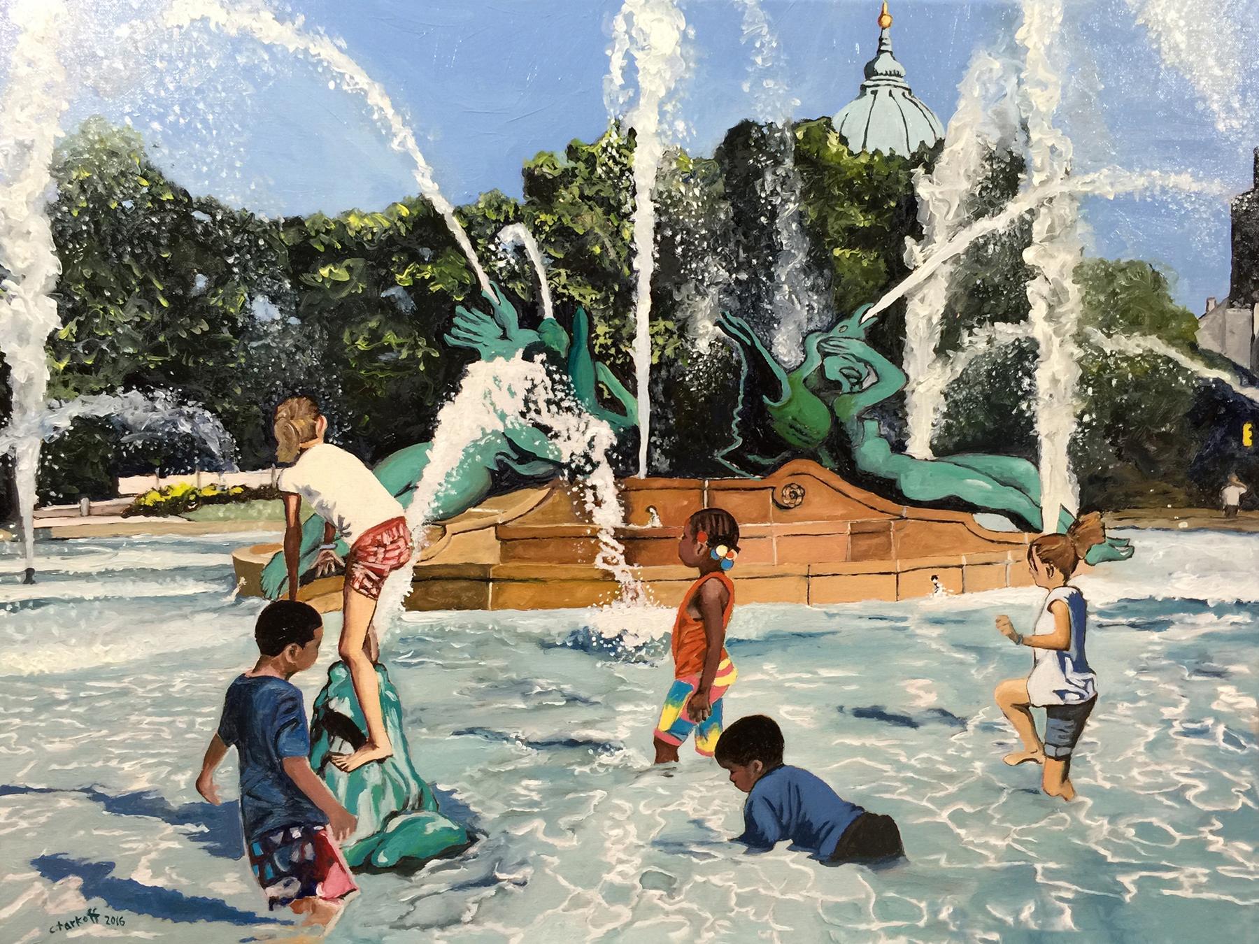 "Philadelphia Street Scene - Benjamin Franklin Parkway - ""Streets of Philadelphia - Summer Fun"" - 18x24 inches. Oil on Stretched Canvas."