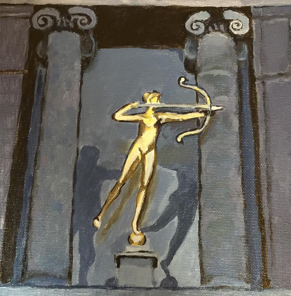 "Philadelphia Street Scene - Philadelphia Museum of Art - ""Diana on the Stairs"" - 8x8 inches. Acrylic on Canvas Panel."