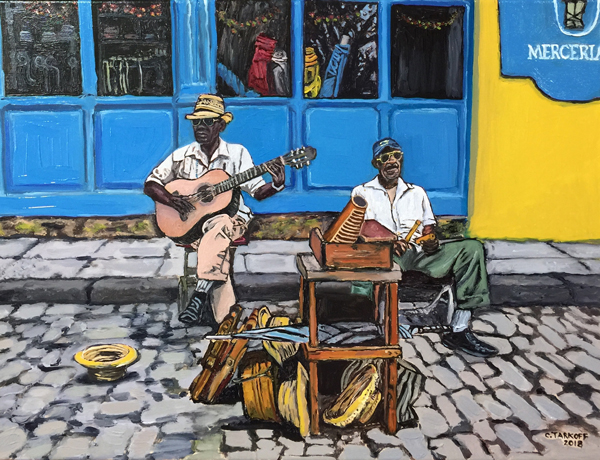 """Old Havana, Cuba. """"Music at the Merceria."""" 18x24 inches. Oil on Stretch Canvas"""