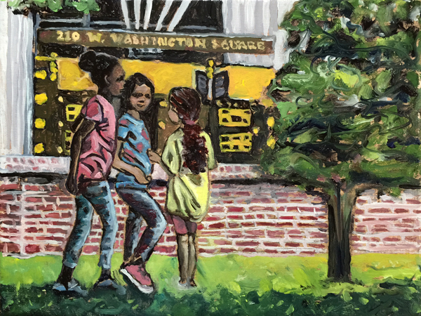 """VOTE for my painting, """"City Girls,"""" at the Barnes. Inspired by """"Country Girls"""" by Edith Dimock."""