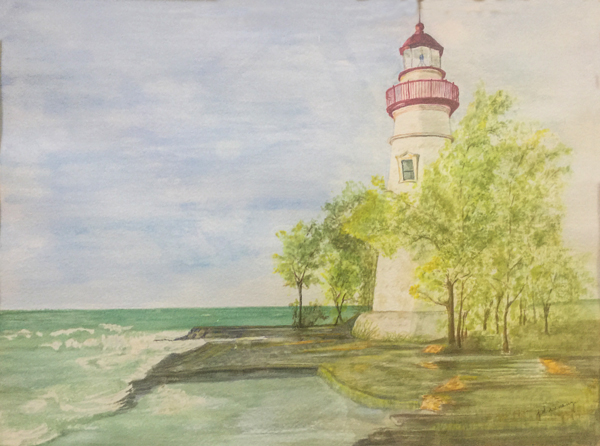 """""""Lighthouse ."""" 16x12 inches. Watercolor on Paper."""