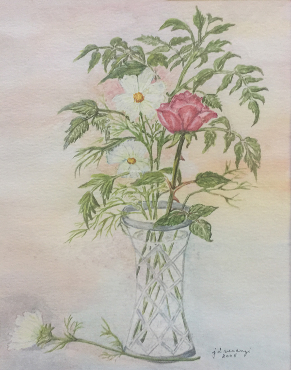 """""""From my Garden."""" 7.5x9.5 inches. Watercolor on Paper"""