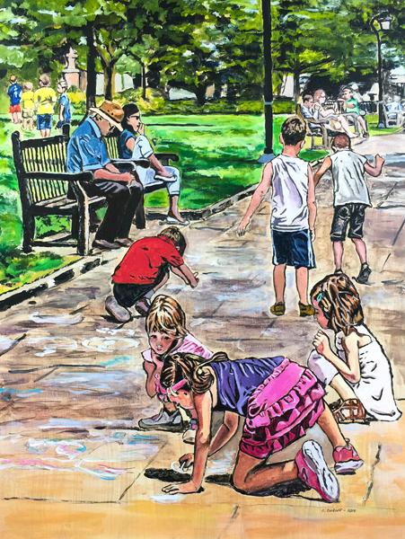 Sidewalk Chalk Drawing at Washington Square Park