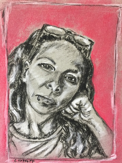 """""""Pensive Millie Rose."""" 5x7 inches. Charcoal & Soft Pastel on Toned Strathmore Paper. Framed and read-to-hang."""