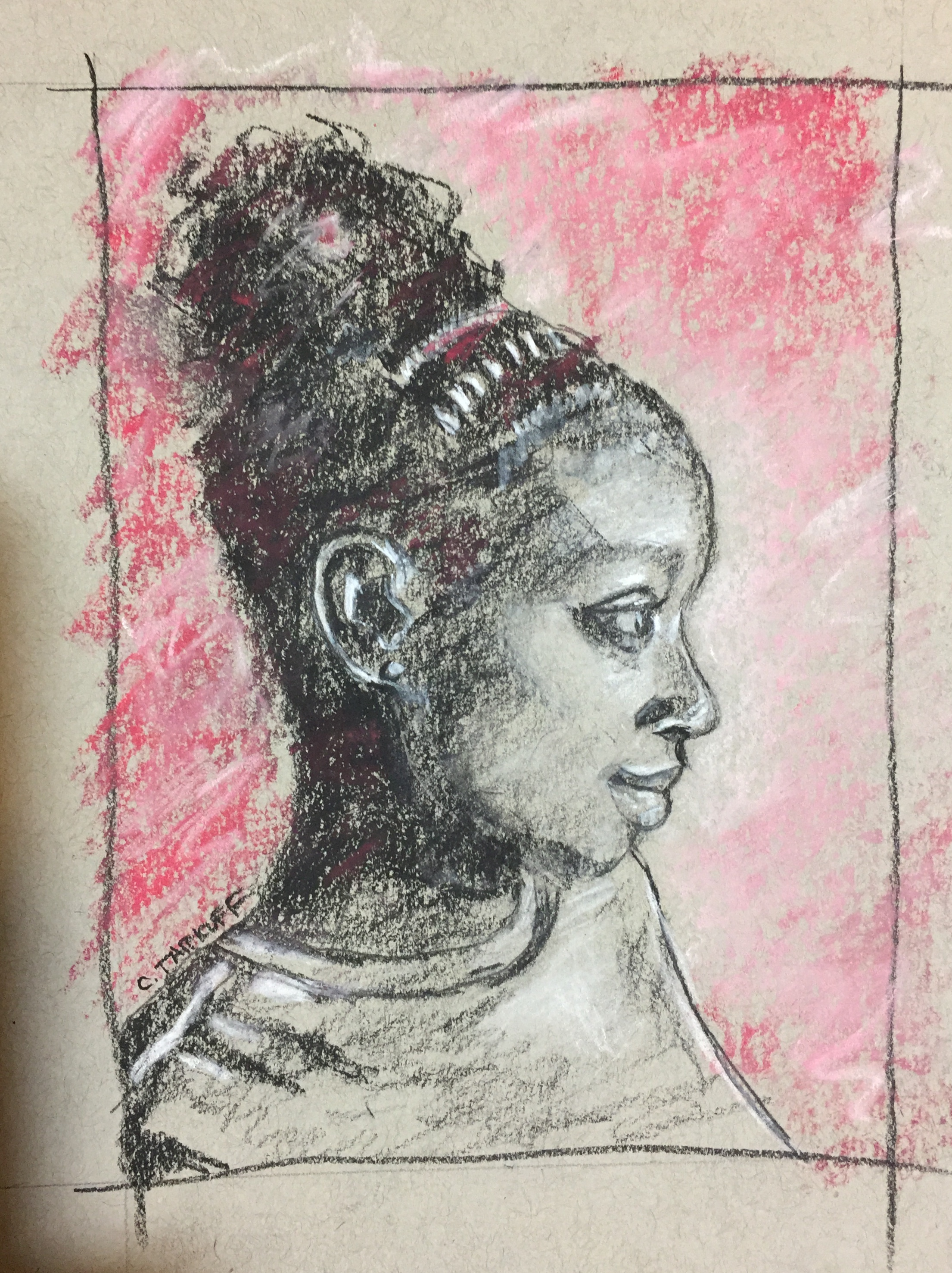 """""""Study: Tania."""" 5x7 inches. Charcoal and soft pastel on Toned Strathmore Paper. Framed and read-to-hang."""