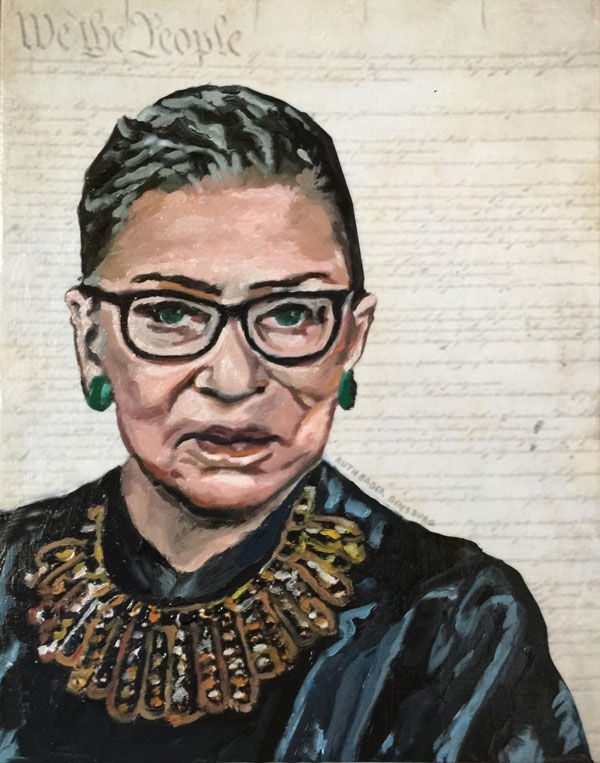 """Ruth Bader Ginsburg -- Dissent."" 8x10. Oil and collage on canvas panel."