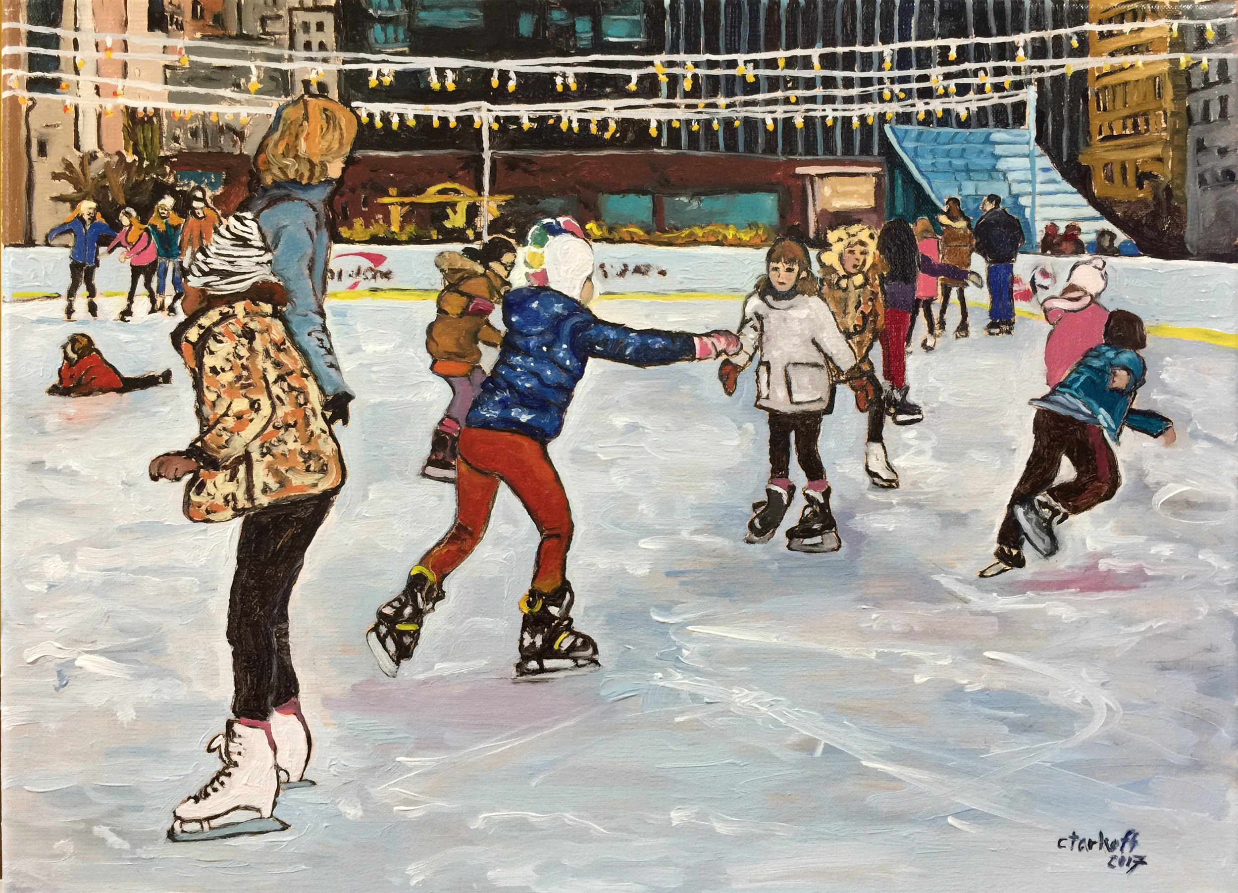 """Iceskating in Dilworth Park on a Sunday Afternoon."" Oil on stretched Canvas. 12x16. Framed, wired, and ready to hang in your home or office!    Winter in July Sale Price is $288   . Regular Price: $576."