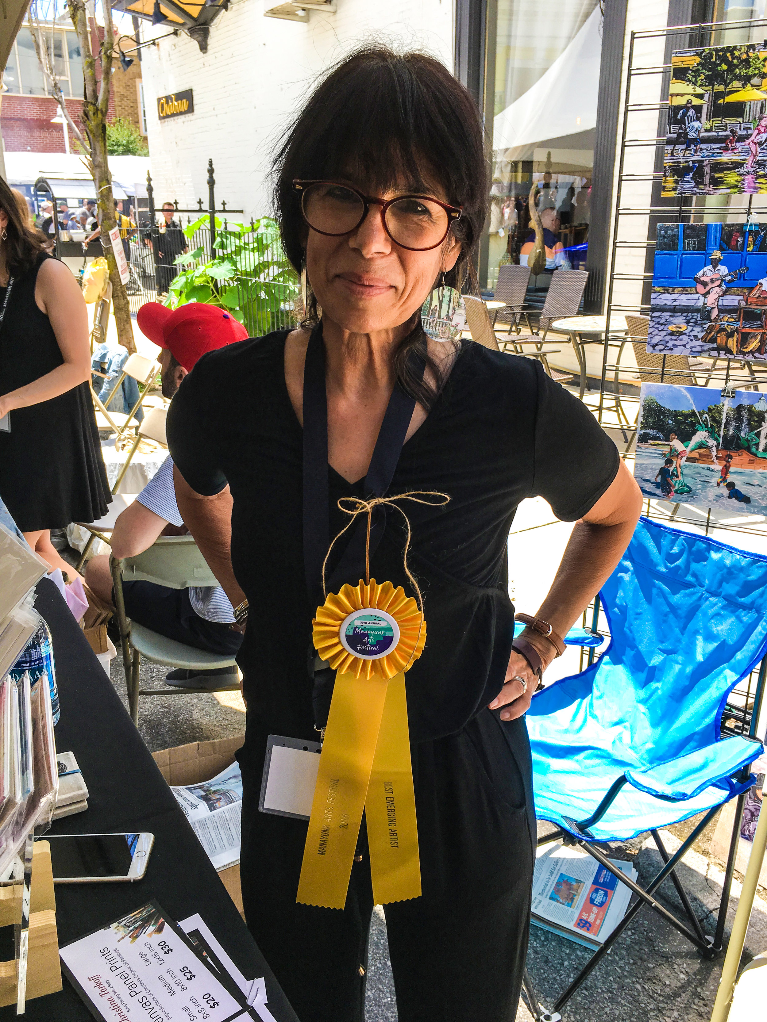 I was so proud to be selected Best Emerging Artist at the 2019 Manayunk Arts Festival that I wore my ribbon all weekend!