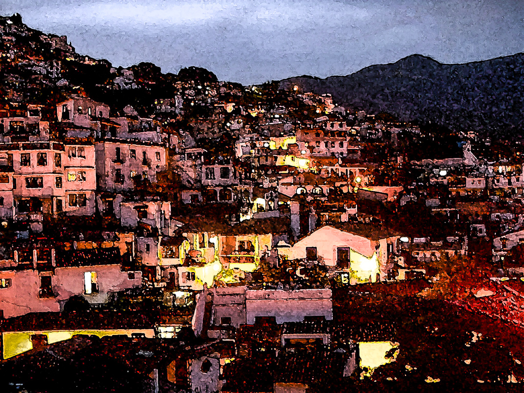 Taxco View, Embossed, Mexico