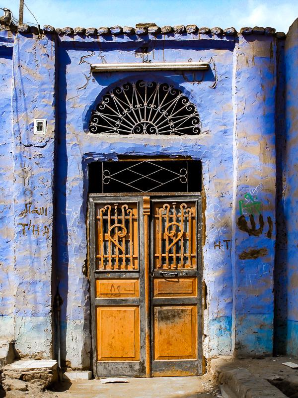 Brown Door, Blue Wall, Nubia, Egypt