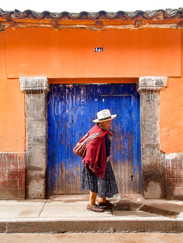 Woman and Blue Door, Cusco, Peru
