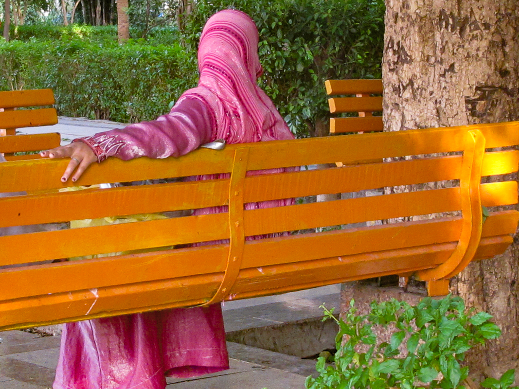 Orange Bench and Pink Scarf, Luxor, Egypt