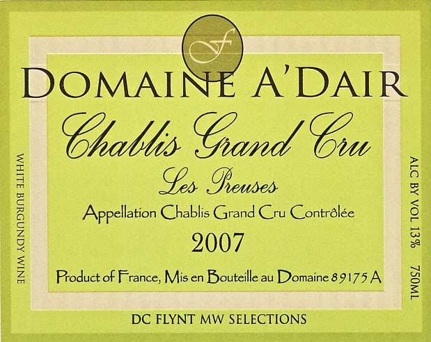 This Grand Cru Chablis is bright, pale lemon-yellow color. A phenomenal nose yields pineapple, white peach, lemony oil, herbs, and cut hay. Silky, dense and pure, with a subtle sweetness that is cut by mouthwatering acidity. A palate-drenching from the start to a rich lingering finish.
