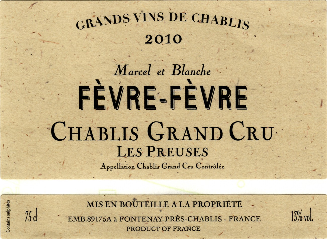 A brilliant pale yellow, the nose has a beautiful array of mineral, floral and fruity notes.There is a liveliness on the palate, which gives a pleasant sensation of freshness, and very long-lasting aromas. In this Chablis Grand Cru, Chardonnay expresses all its delicacy and elegance…