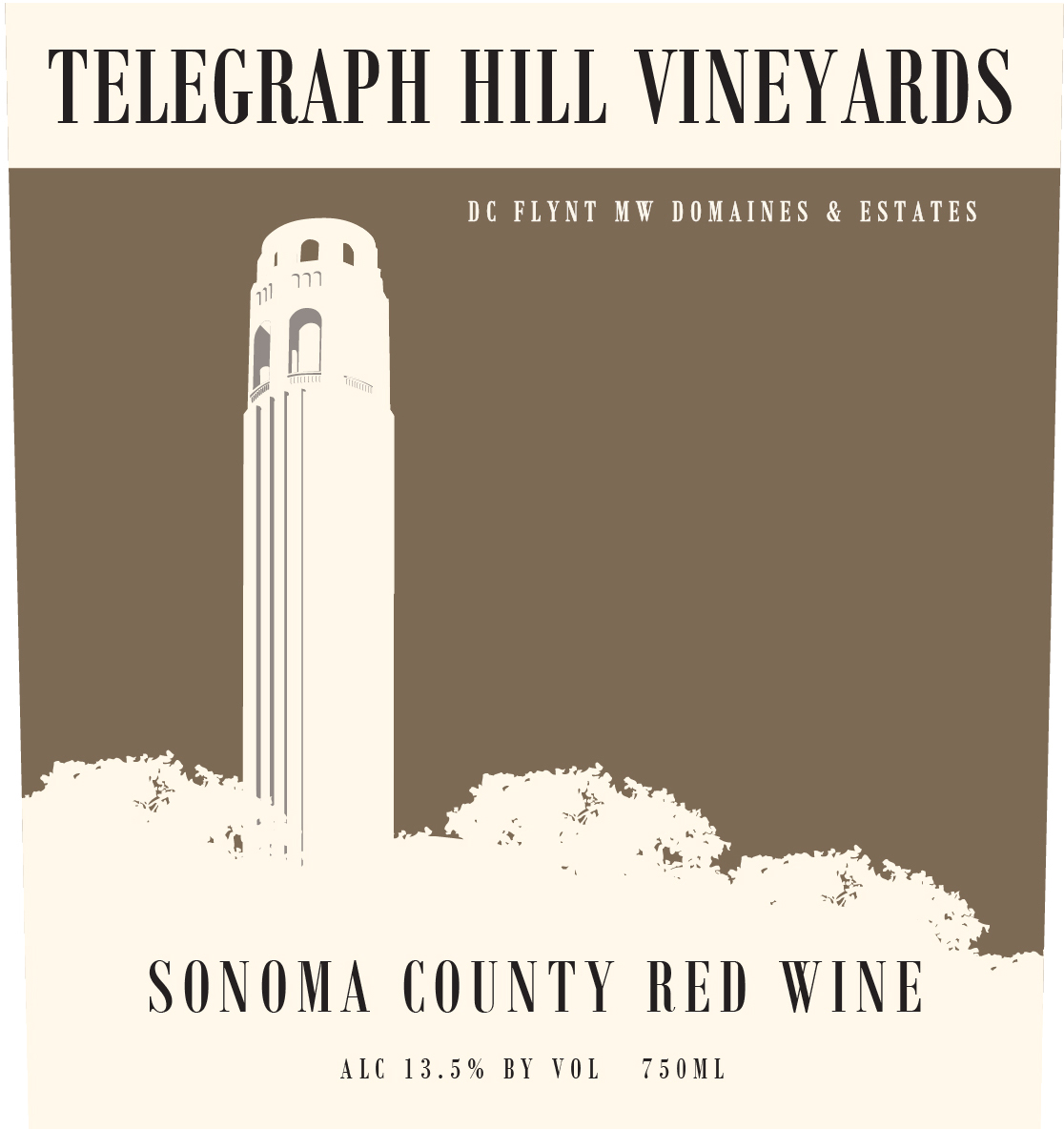 Telegraph Hill Sonoma County Red is a classically spicy-rich red blend. This dense wine is dominated by notes of zesty raspberry and black cherry preserves woven together by aromas of gently roasted mocha, cedar, oak, and vanilla with a distinct finish of wild-berries.
