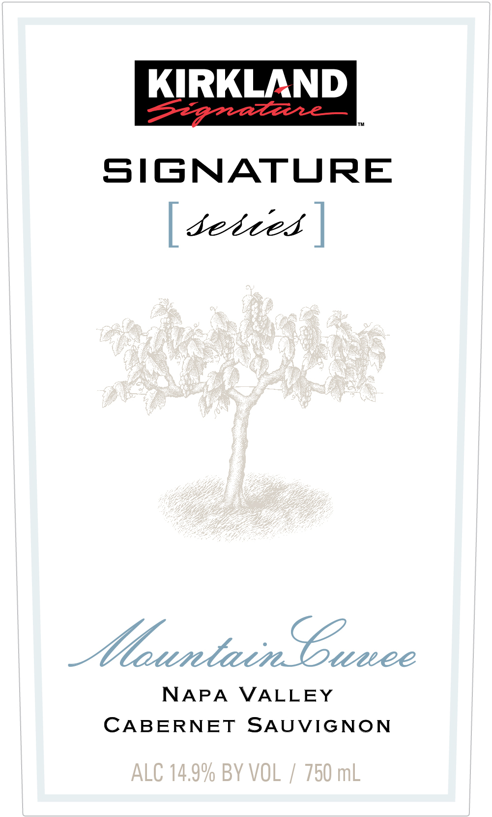 """Mountain fruit benefits from improved drainage and greater   photosynthesis. It is known for elegance, density and balanced acidity. This Kirkland Signature Napa Valley Mountain Cuvee Cabernet Sauvignon has distinct mountain fruit notes of black cherry, black currants and blackberry coupled with coffee and dark chocolate notes.  The cedar wood and spice notes are from 100% French Oak.""       Winemakers Marco DiGiulio and Zach Long         Kirkland Signature Napa Valley Mountain Cuvee is 100% Napa Valley AVA. Grapes are also sourced from Mt. Veeder, Diamond Mountain, Atlas Peak and Howell Mountain."