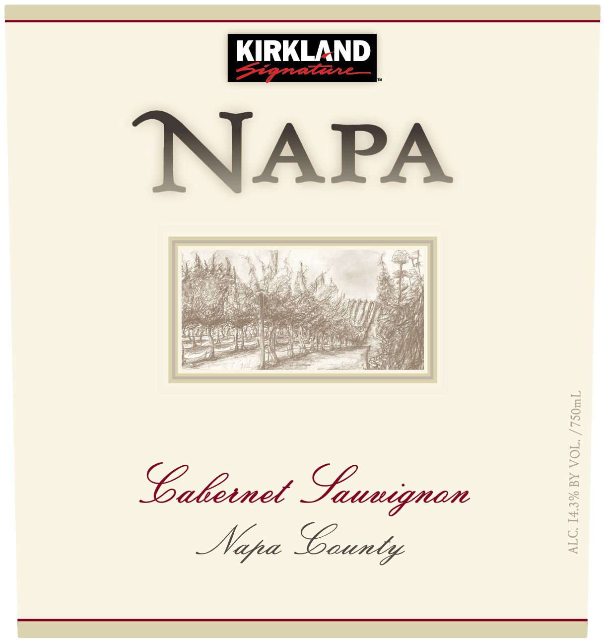 The Kirkland Signature Napa County Cabernet Sauvignon yields lush black and red berry fruit with enticing aromas of blackberry, black cherry, plum and cocoa. This full bodied wine is refreshed with lifting acidity and enhanced by well integrated oak. It is surrounded by multidimensional flavors of juicy black and red fruit, cedar spice and vanilla oak skillfully balanced to an elegant lengthy finish.