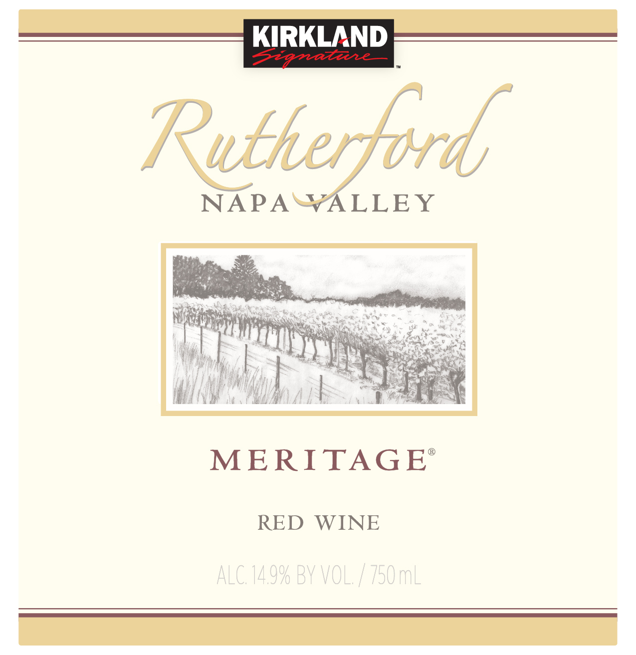 This Kirkland Signature Rutherford Meritage is a 70% Cabernet controlled blend, with 15% Merlot, 12% Petit Verdot, and 3% Cabernet Franc.  Cabernet Sauvignon offers dark, rich black fruit character to the blend. The Merlot brings a softer tannins and sweet red fruit notes to the blend. Petit Verdot delivers grip, texture and dark brooding color lifted by the fragrant tobacco leaf qualities of Cabernet Franc. Careful maturation in small French oak barrels layered the Kirkland Signature Rutherford Meritage with fully integrated spice notes and the blend is supported by a seamless thread of natural ripe acidity.