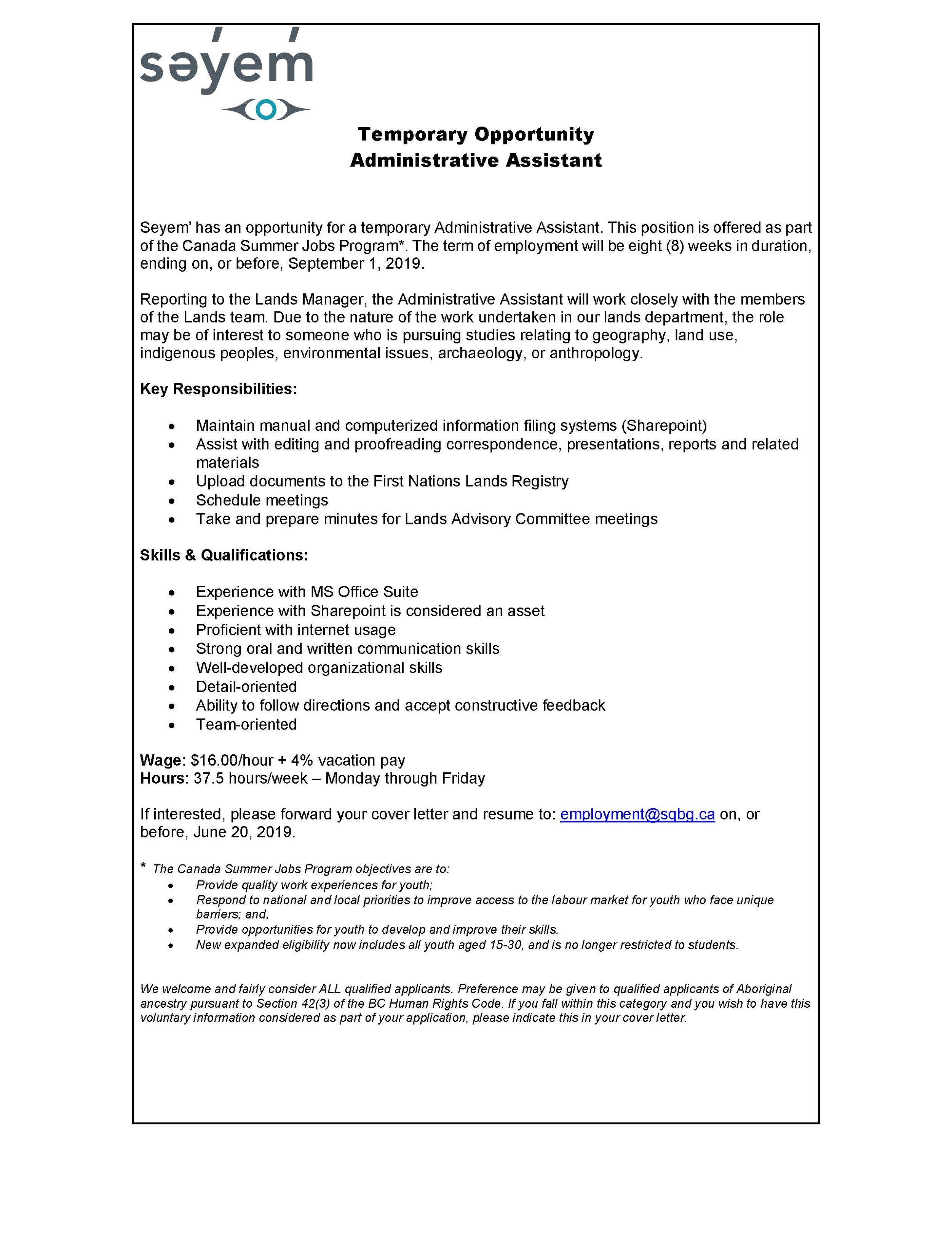 2019.06.12 Job Posting - Admin Assistant (Summer Job).jpg