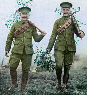 A Nottingham paper image of two soldiers carrying mistletoe on their rifles at Christmas 1914.