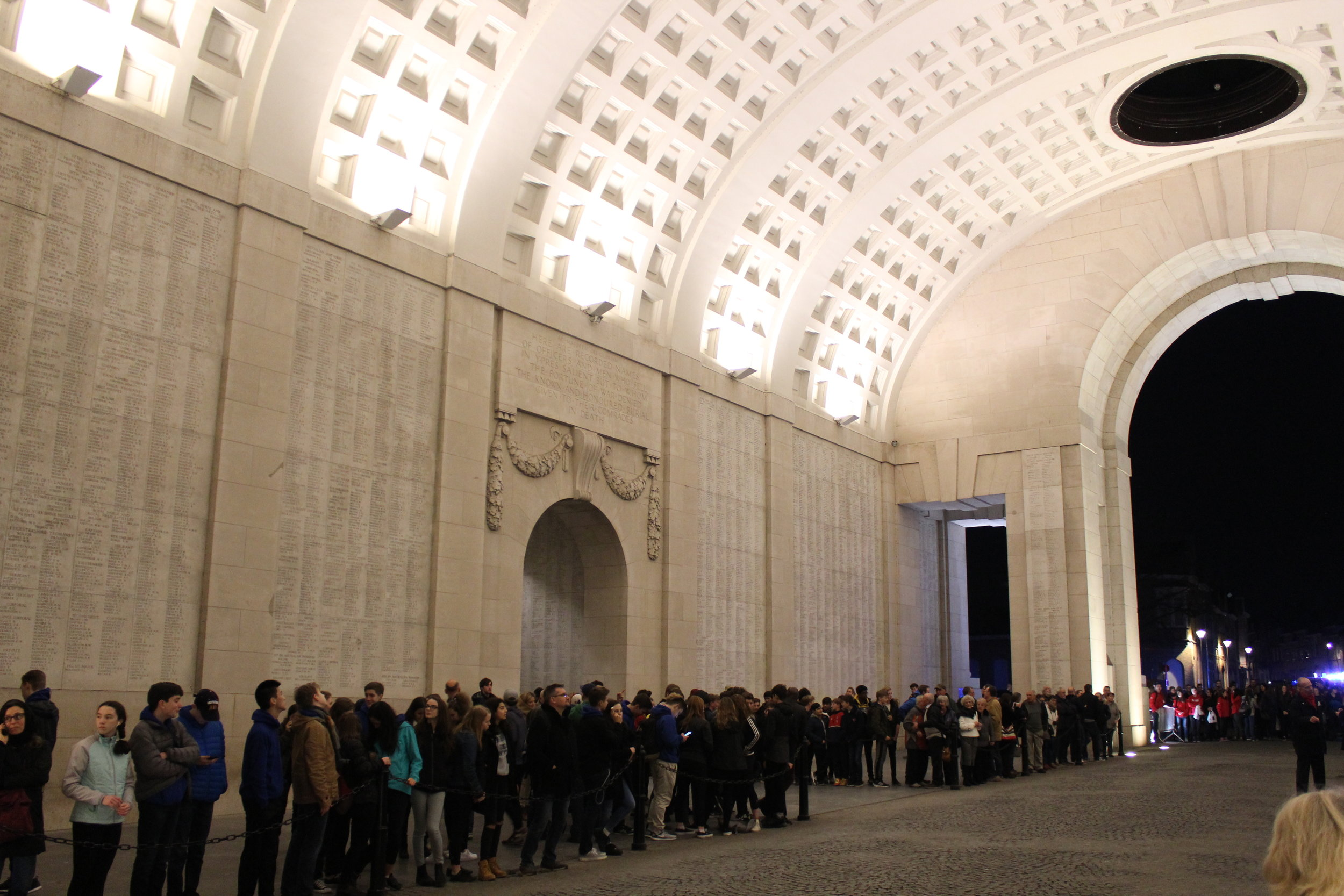 A crowd gathers for Menin Gate experience at 8PM, Ypres.