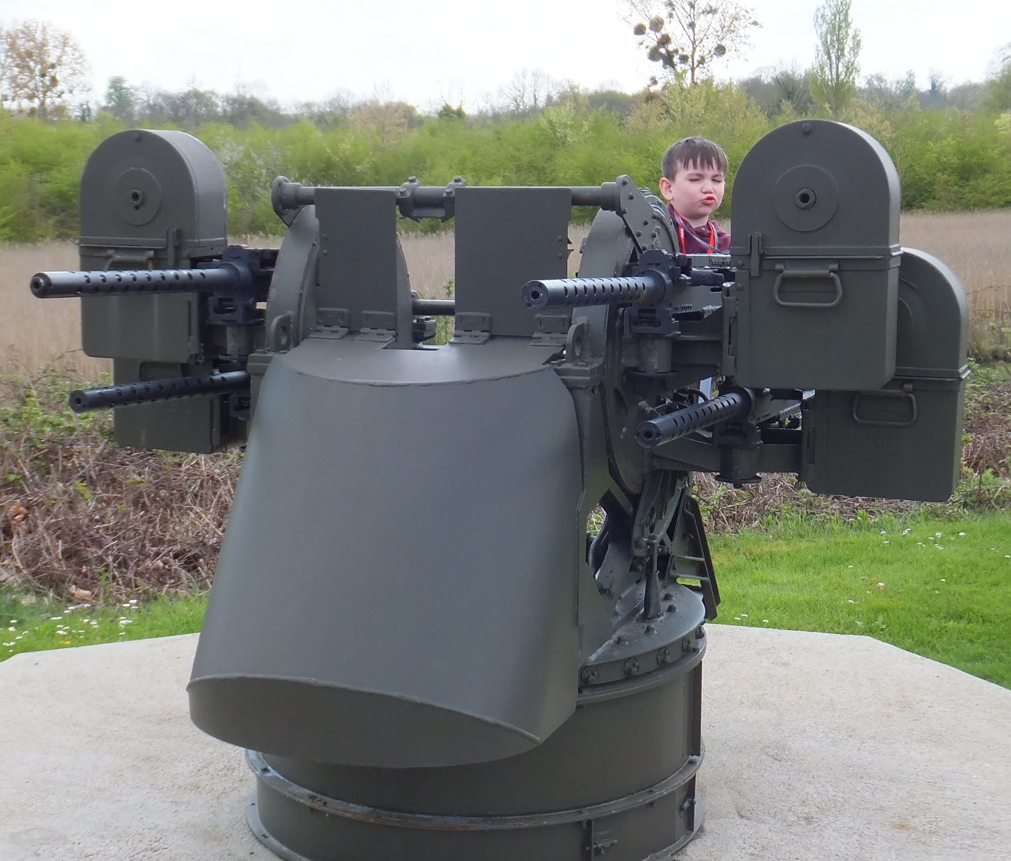 Using my imagination on the German gun at Pegasus Museum, Benouville.