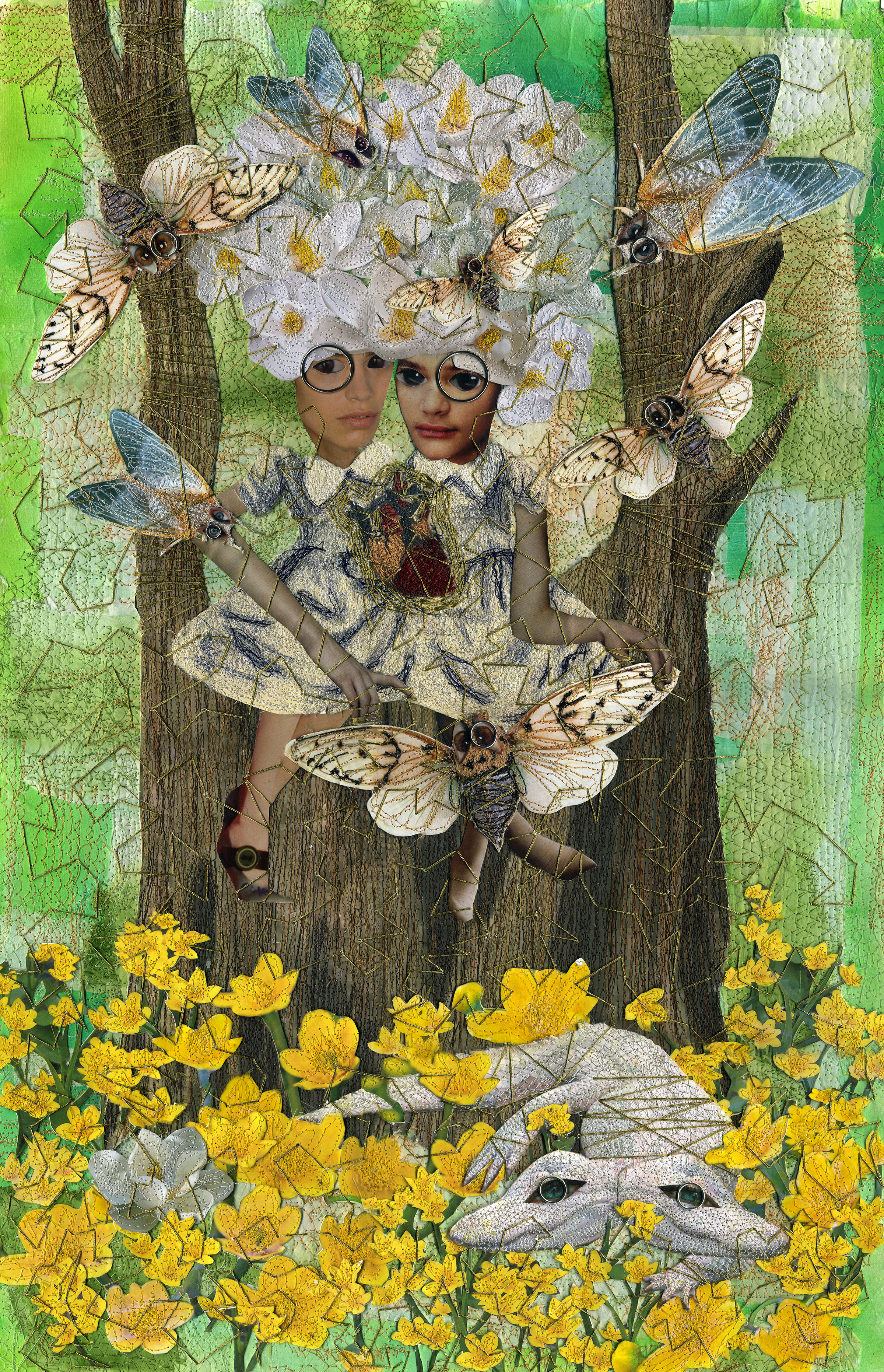 """Nonney Oddlokken, """"The Bayou of the White Magi,"""" mixed media, 30 x 19 inches, 2017"""