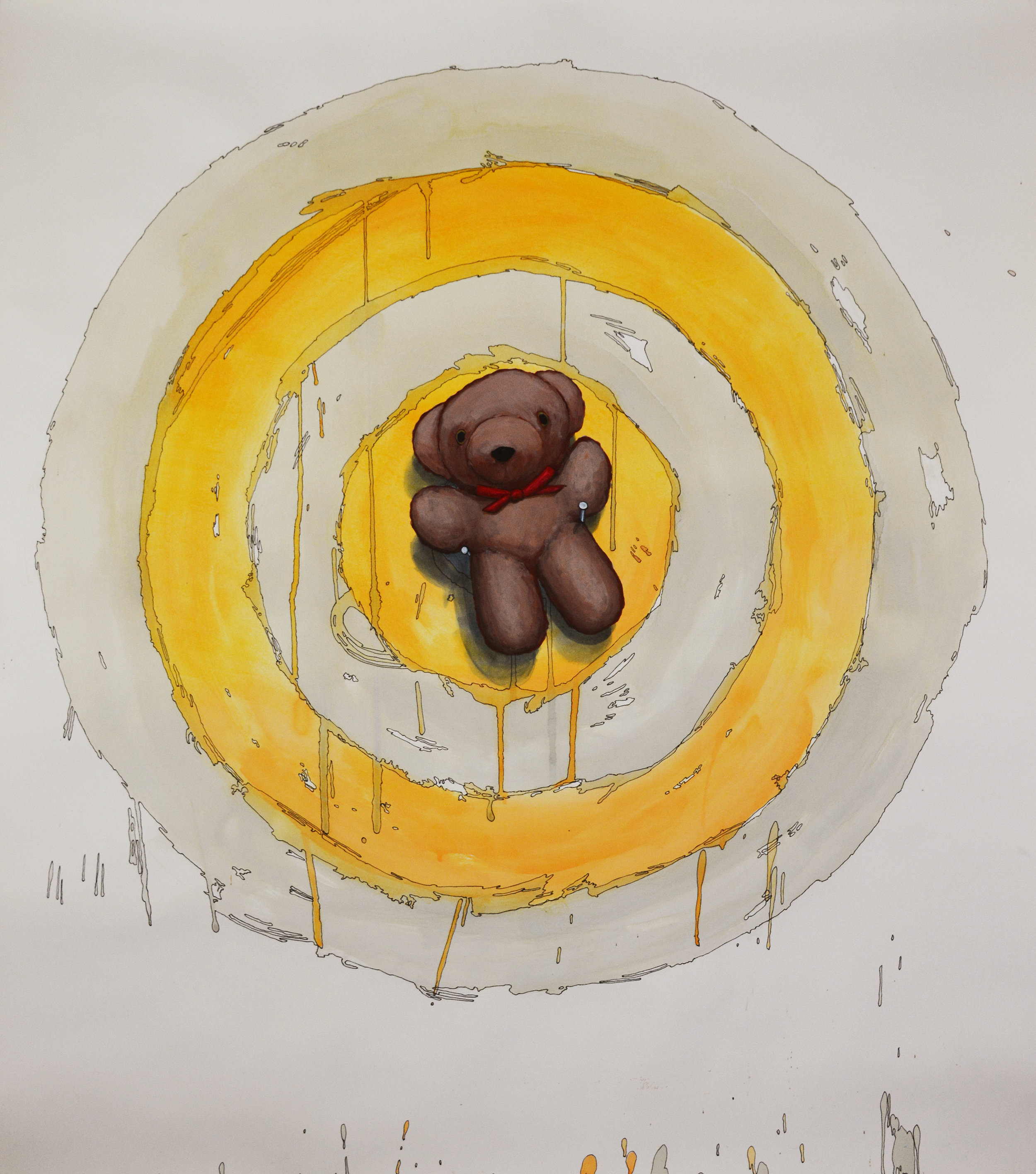 "Tom Richard, ""Teddy Bear on Target,"" acrylic, watercolor, ink and graphite on paper, 47 x 42.25 in."