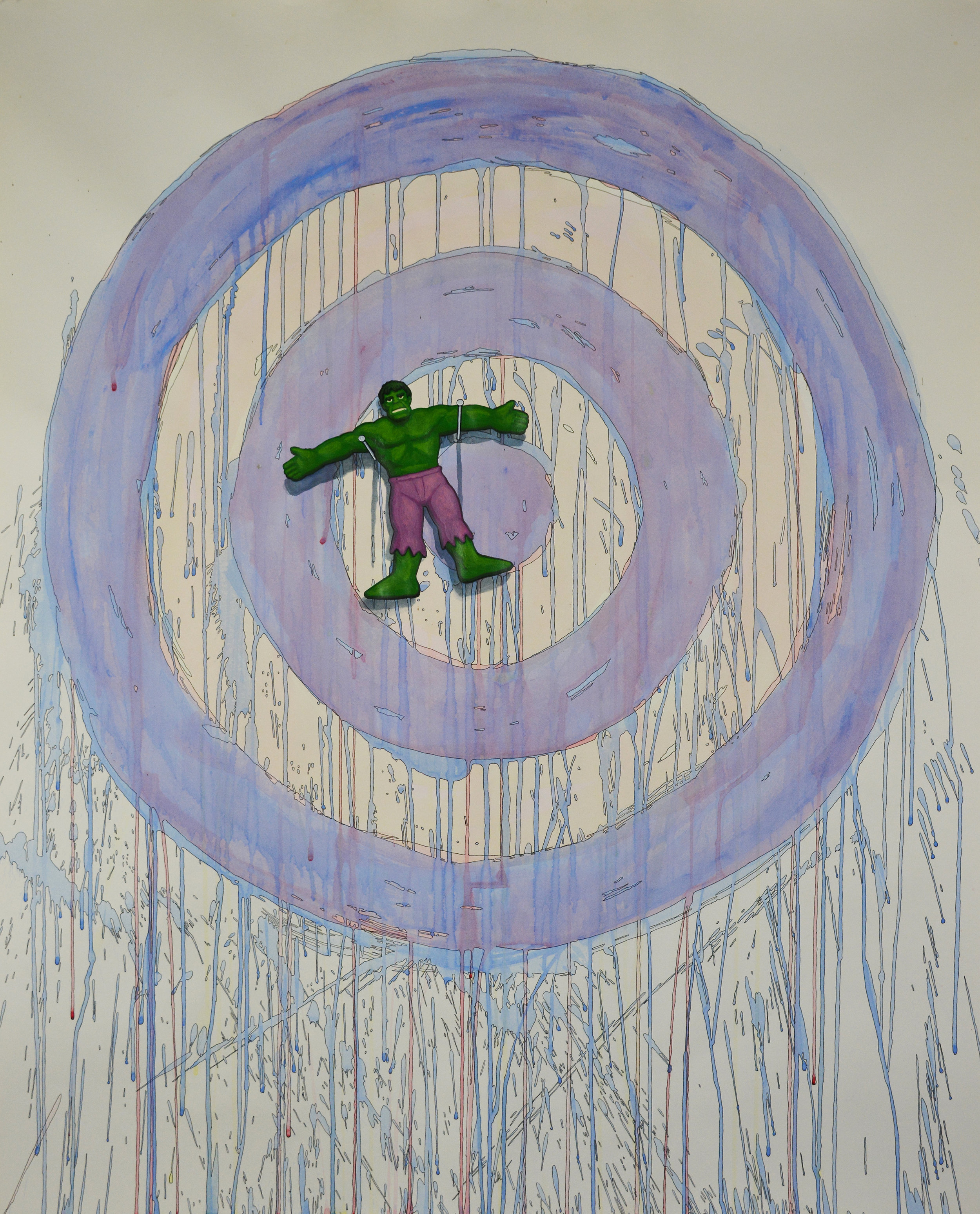 "Tom Richard, ""Hulk on Target,"" acrylic, watercolor, ink and graphite on paper, 47 x 42.25 in."