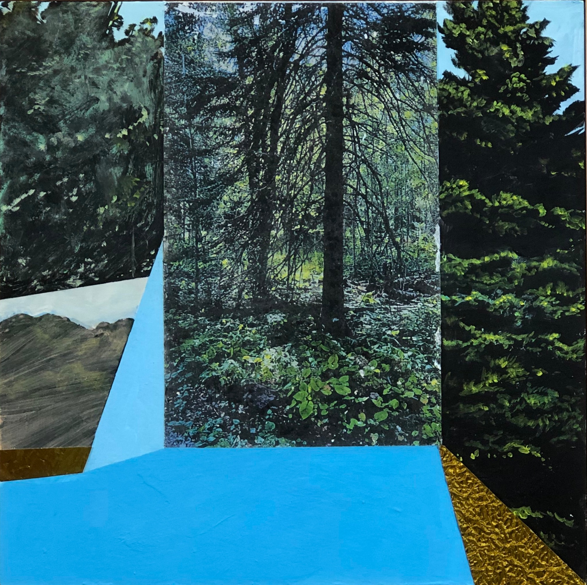 "James Burke, ""Ridge Trail,"" acrylic on panel, laser transfers, and collage, 2019"