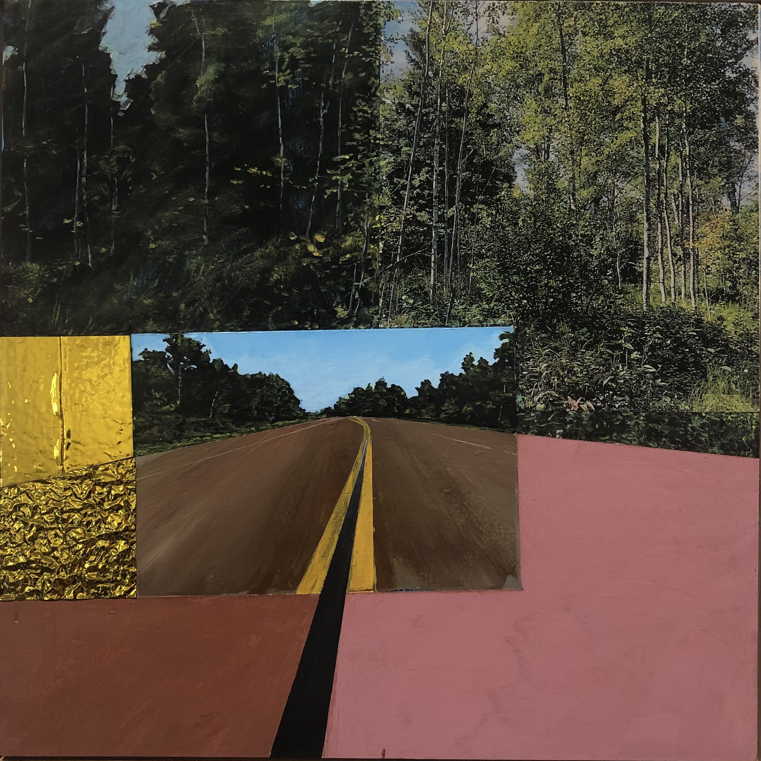 "James Burke, ""No Passing on the Pink Road,"" acrylic on panel, laser transfers, and collage, 2019"