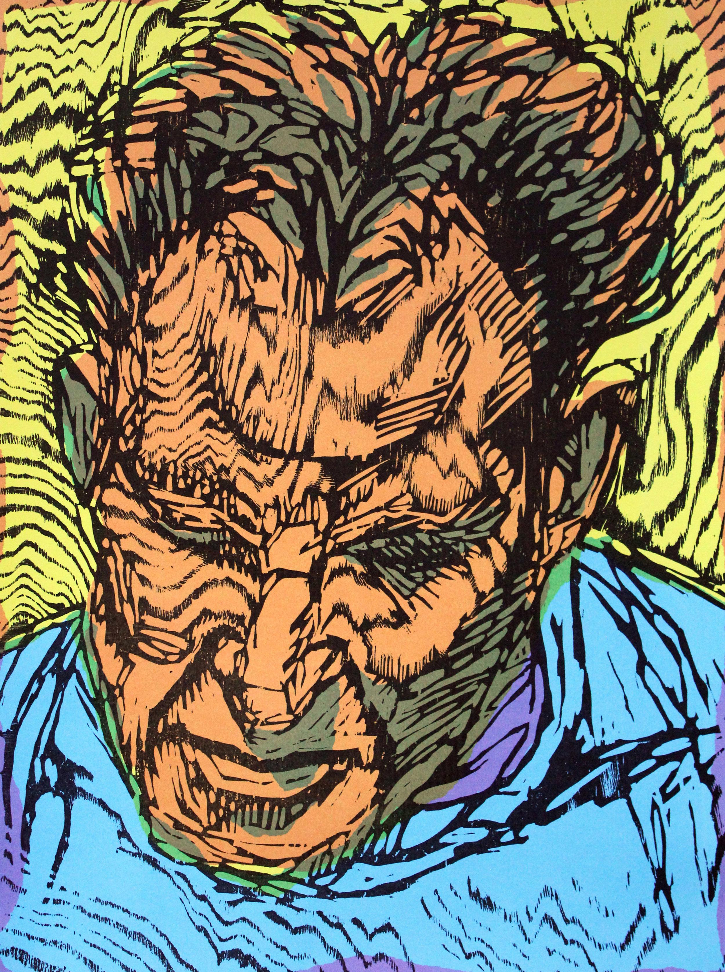 """Frank after Freud"" 2019, woodcut and screenprint 22""x 29"