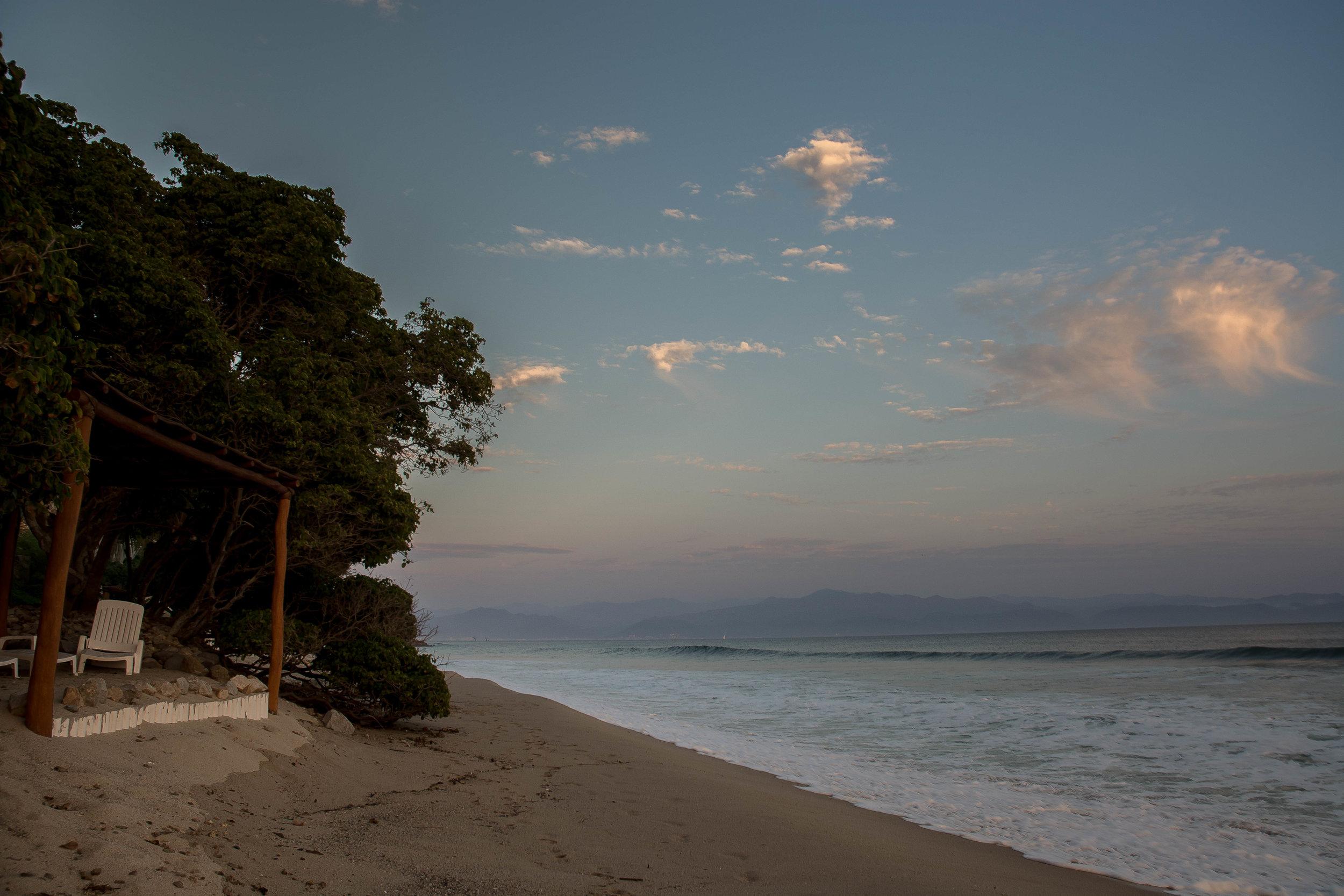 Beach at dusk.