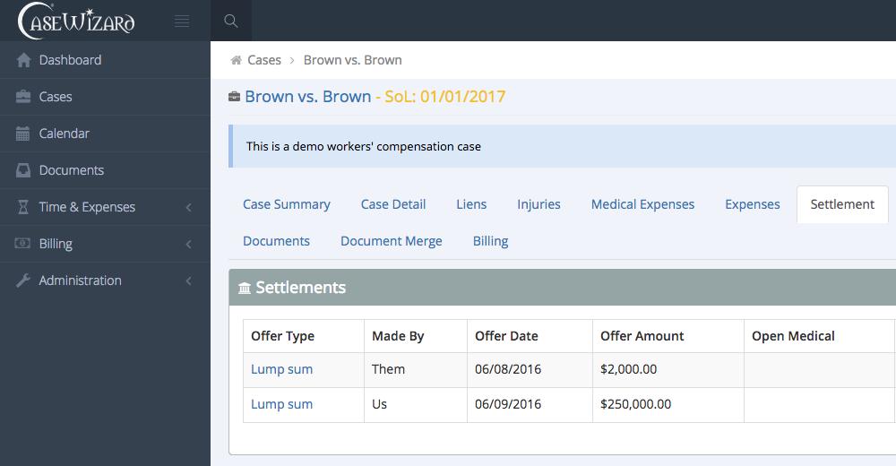 CaseWizard - settlement tracking