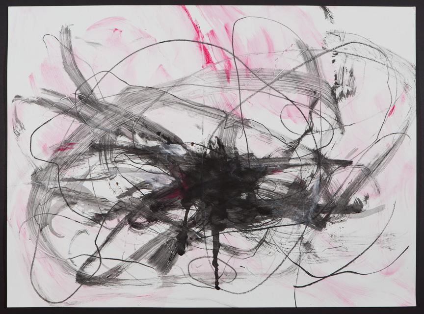"""Untitled (pink +black, dark) 2015 22 x 30"""""""