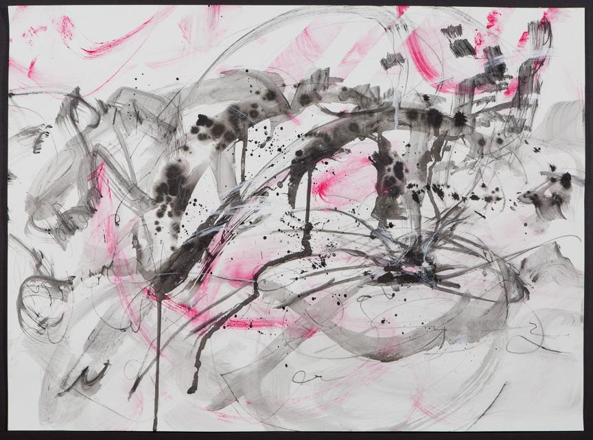 """Untitled (pink/black/drip) 2015, 22 x 30"""""""