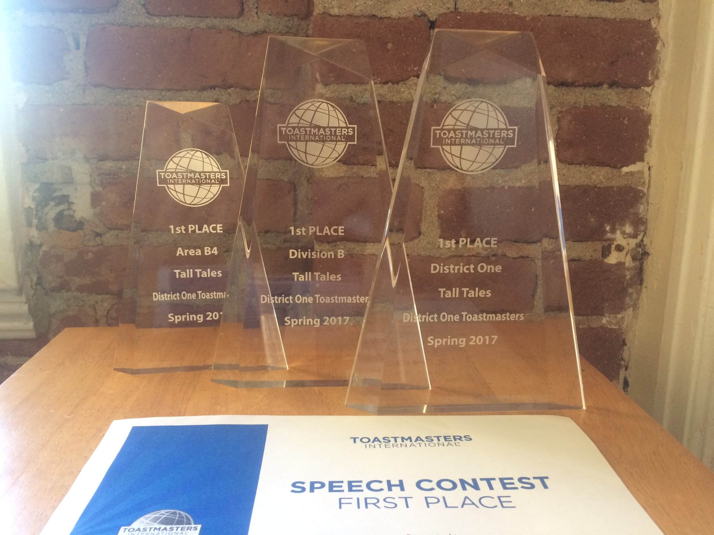 toastmasters speech championship trophies.JPG