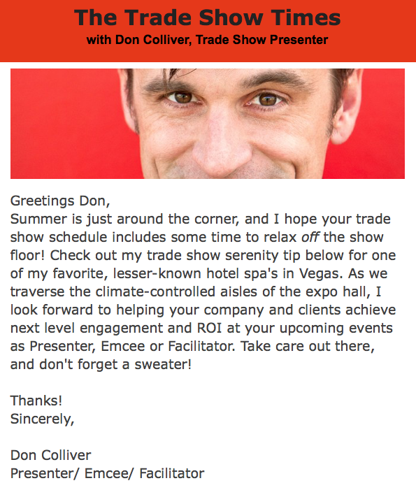 trade show presenter newsletter