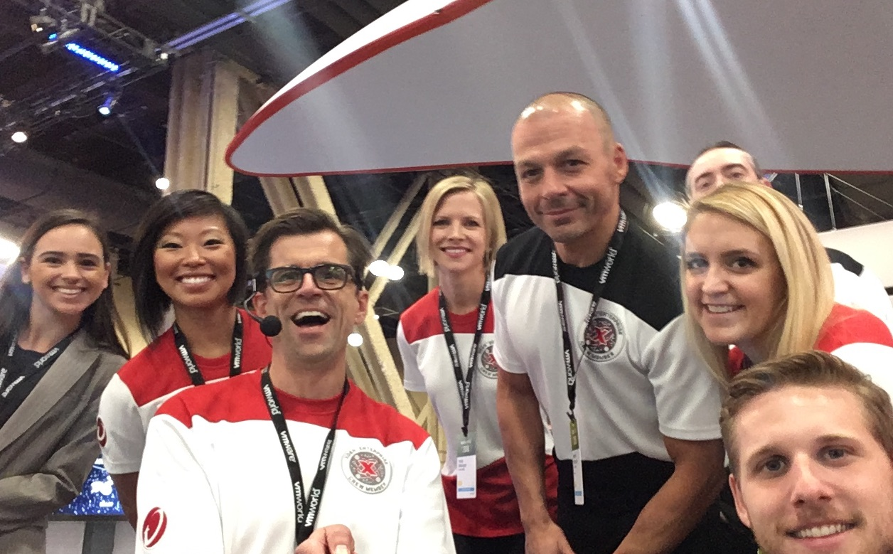 trade show emcee with the trend micro crew