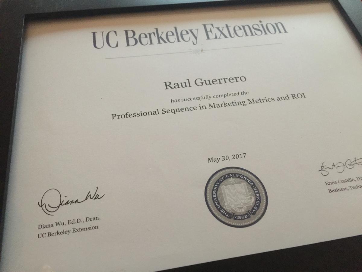 UC Berkeley Extension Certificate