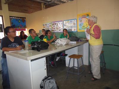 Presenting book in bilingual school