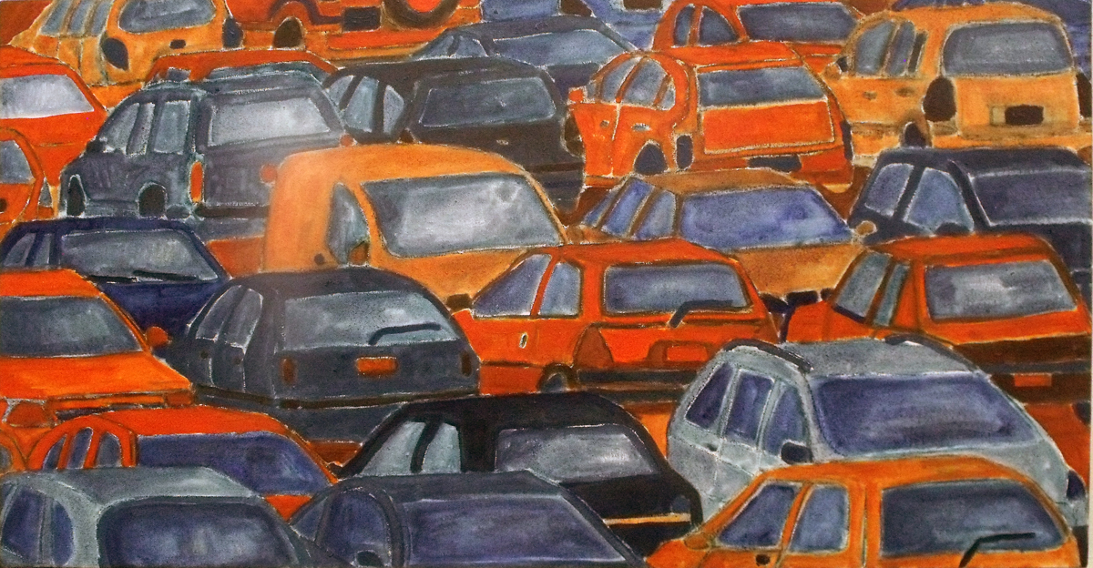 """Cars"", oil on canvas, 18"" x 30"""