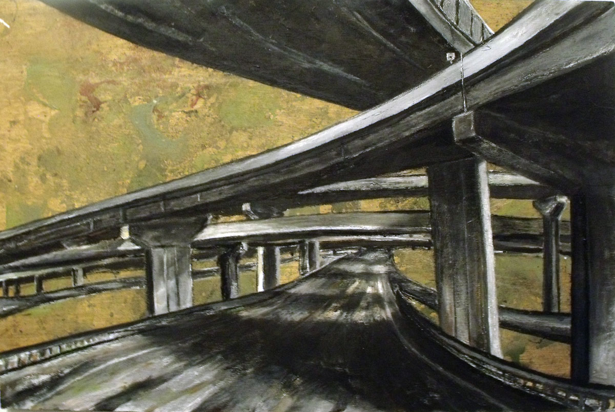 """Highway to Nowhere"", mixed media on wood panel, 24"" x 36"""